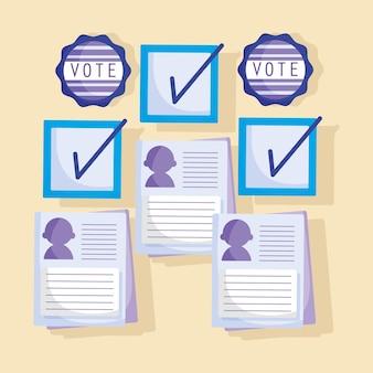 Formulário de votação com candidatos Vetor Premium