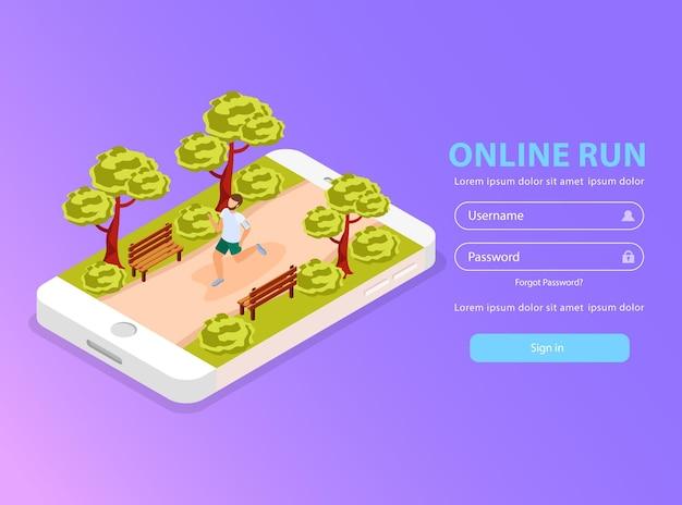 Formulário on-line da web com ilustração sobre a comunidade de corredores urbanos
