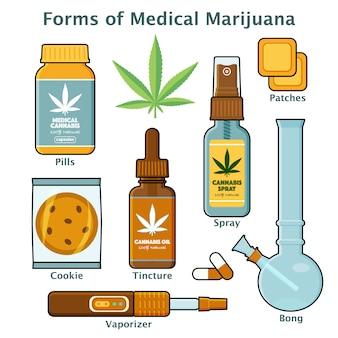 Formulários de cannabis e maconha para uso médico com descrições