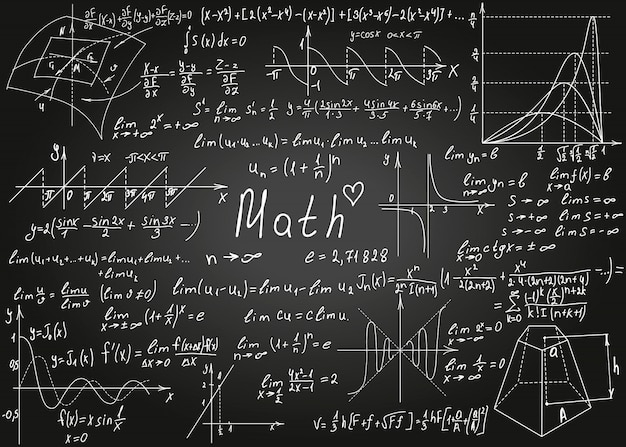 Fórmulas brancas matemáticas desenhadas à mão no quadro preto para o fundo. ilustração.