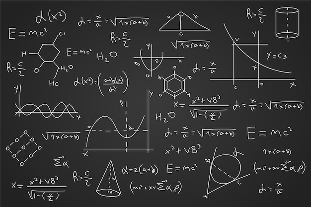 Fórmulas científicas desenhadas no quadro-negro