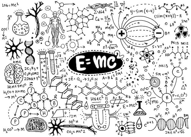 Fórmulas científicas e cálculos em física e matemática.