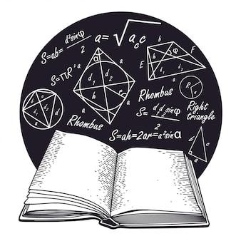 Fórmulas e livro aberto.