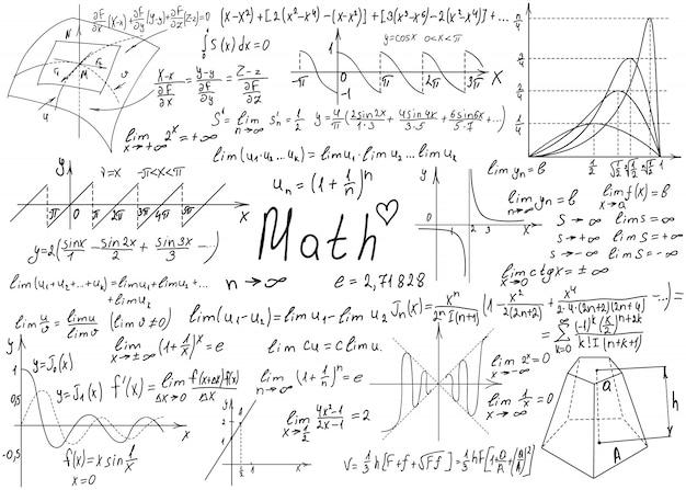 Fórmulas matemáticas desenhadas à mão em um quadro branco para o fundo.