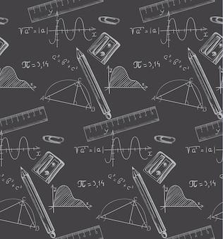 Fórmulas matemáticas e giz de cera desenhados em um quadro negro