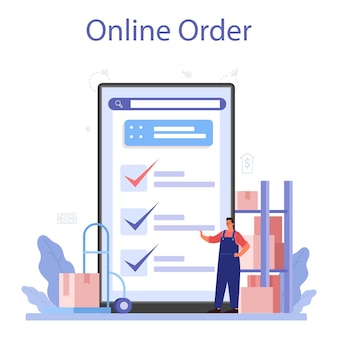Fornece serviço ou plataforma online. idéia de b2b, serviço global de logística e transporte. Vetor Premium