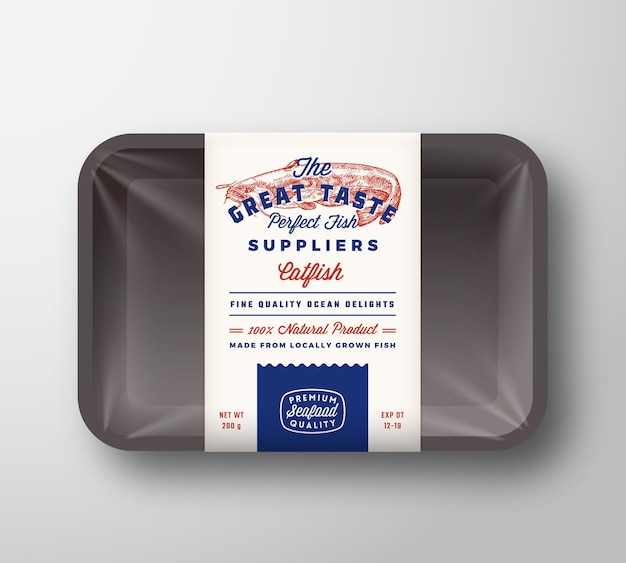 Fornecedores de peixes de excelente sabor, design de embalagem rústico abstrato