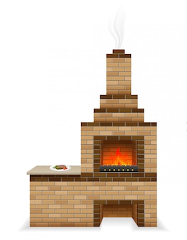 Forno de churrasco construído de tijolos