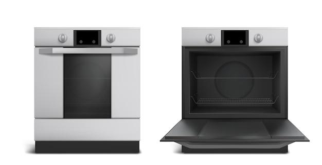 Forno, eletrodomésticos de cozinha, vista frontal de fogão aberto ou fechado.