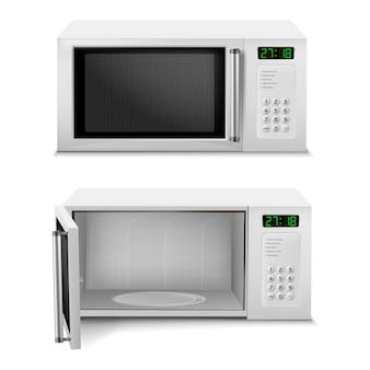 Forno microondas com display digital, vista frontal, com porta aberta e fechada