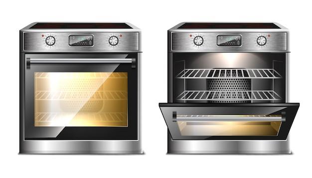 Forno moderno e realista, fogão multifuncional com menu de toque e timer em duas vistas, com porta aberta e fechada com luz.