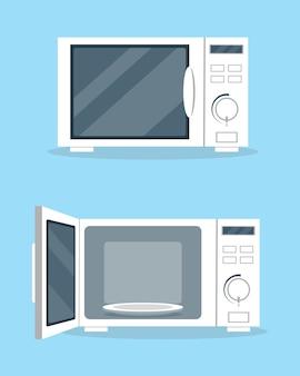Fornos micro-ondas com porta aberta e fechada em estilo plano