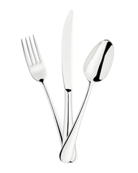 Forquilha, colher e faca isoladas no branco.