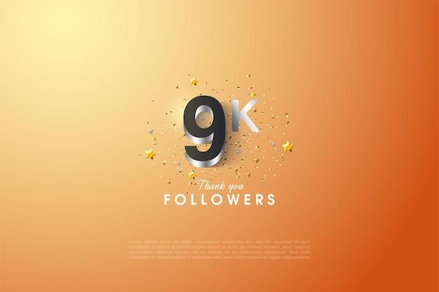 Forro de prata brilhante pelos agradecimentos a 9 mil seguidores