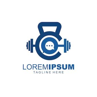 Forte logotipo de podcast de academia com discurso de bolha e kettlebell