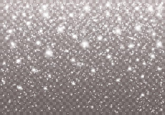 Forte nevasca de natal, flocos de neve em formas diferentes