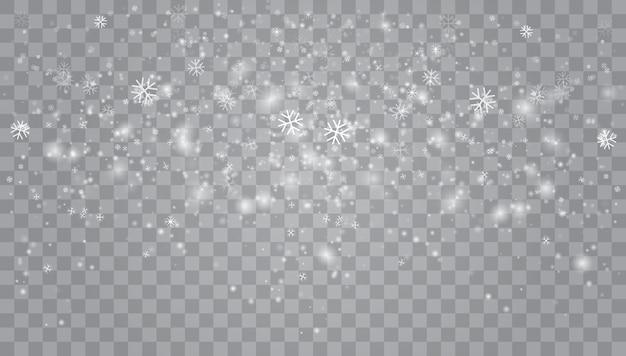 Forte nevasca, flocos de neve em diferentes formas e formas.