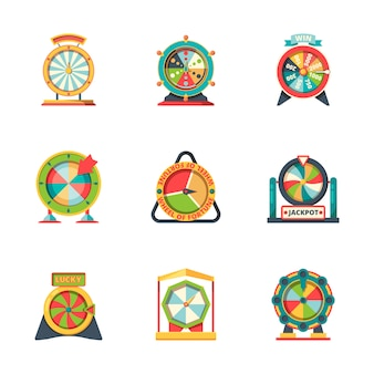 Fortuna da roda. símbolos do círculo da sorte, roleta, casino, jogos de azar, ícones da fortuna, estilo