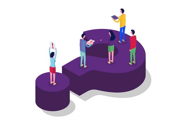 Fórum da internet, comunicação de pessoas, conceito isométrico de sociedade. ilustração