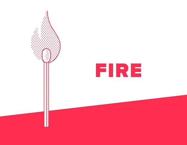 Fósforo flamejante. fique com o estilo pontilhado de fogo. ilustração do vetor de cor vermelha e branca.
