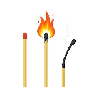 Fósforos de fósforo aceso e fósforo queimado.