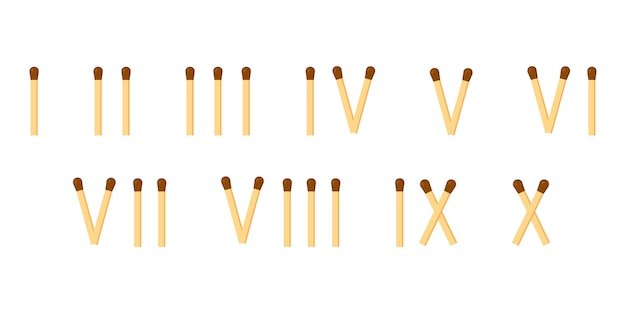 Fósforos. números romanos. matemática