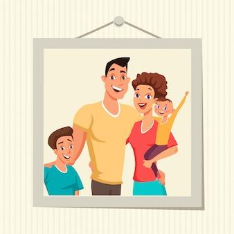 Foto de família em ilustração plana de moldura