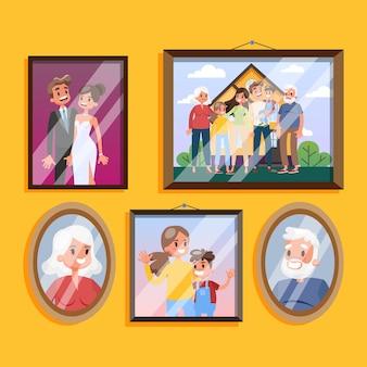 Foto de família em moldura pendurada no conjunto de parede