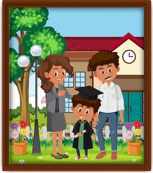 Foto de família feliz em uma moldura Vetor Premium