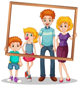 Foto de família isolada com ilustração em moldura de foto