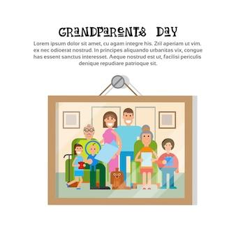 Foto, de, família, junto, feliz, avós, dia, cartão comemorativo, bandeira