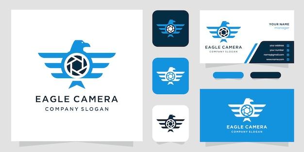 Foto de luxo - modelo de logotipo de estúdio de fotografia de águia