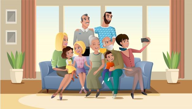Foto de selfie do vetor de grande família feliz dos desenhos animados