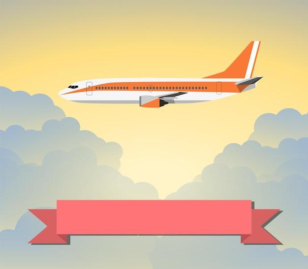 Foto de um avião civil com nuvens e sinal de viagem. ilustração vetorial em design plano. conceito de viagens. banner vertical com a imagem de um avião voando contra o céu