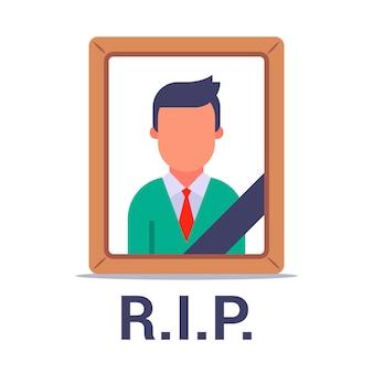 Foto de um homem morto com uma fita preta. esteira dos mortos. ilustração plana isolada no fundo branco.