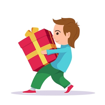Foto de um menino carregando uma grande e pesada caixa de presente