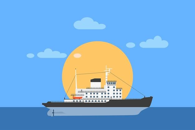 Foto de um navio quebra-gelo a diesel com o sol no fundo,