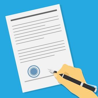 Foto de uma mão humana segurando uma caneta de tinta e assinando um contrato ou acordo de oferta