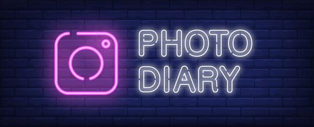 Foto, diário, sinal néon