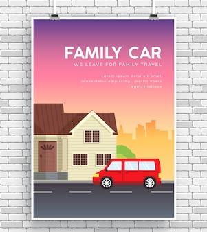 Foto do carro da família com casa no conceito de parede de tijolos de cartaz