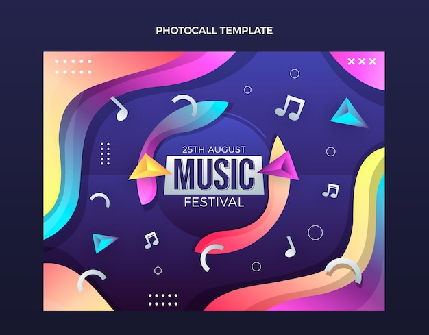 Foto do festival de música colorida gradiente