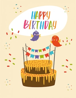 Foto feliz aniversário bolo comemorativo