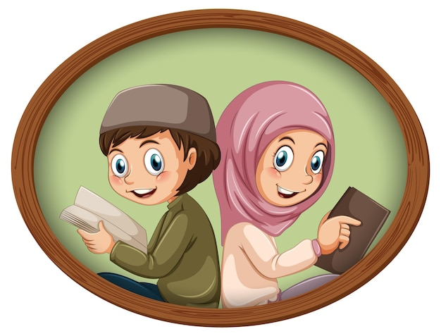 Foto fofa de menino e menina muçulmano em moldura de madeira