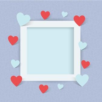 Foto moldura com sinal de coração