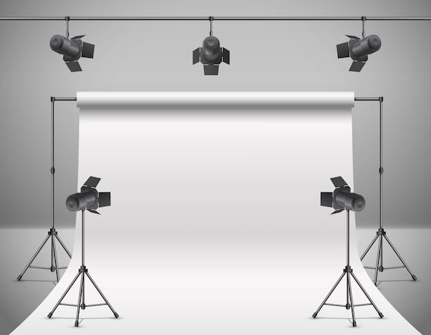 Foto realista 3d, estúdio de vídeo com holofotes, fundo branco