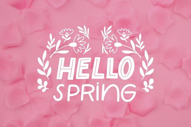 Foto rosa com letras de primavera olá