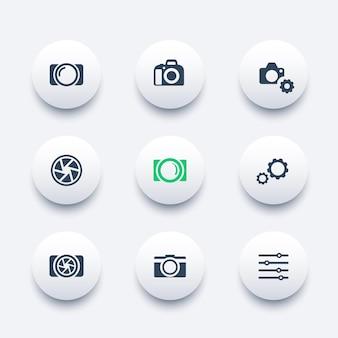 Fotografia, câmera, conjunto de ícones modernos redondos de abertura, ilustração vetorial