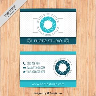Fotografia do cartão de visita na cor azul