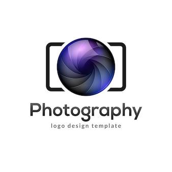 Fotografia logotipo modelo moderno vetor símbolo criativo. elemento de design do ícone de câmera de lente do obturador.