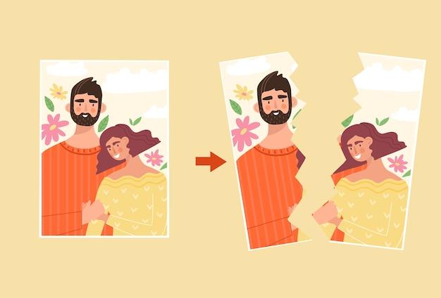 Fotografia rasgada de uma família feliz. homem e mulher na fotografia. mal-entendido na família, conceito de divórcio. crise em um relacionamento, terminar. ilustração em estilo simples.
